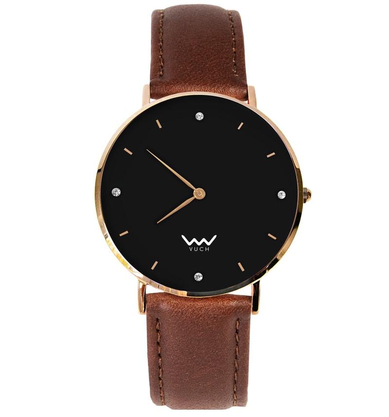 Dámské hodinky s černým ciferníkem a koženým páskem Moon Collection ... f5f6c8028b5